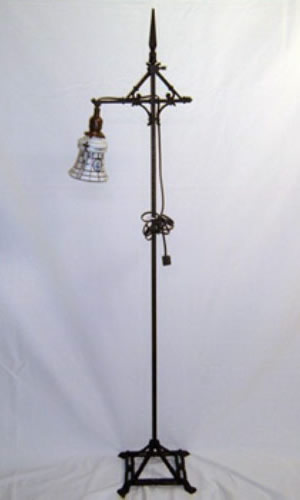 Petite Art Deco bridge arm floor lamp