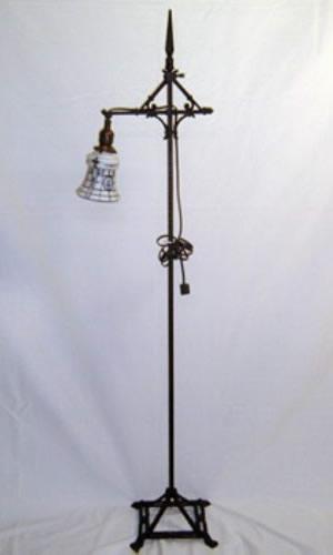Petite Art Deco bridge arm floor lamp