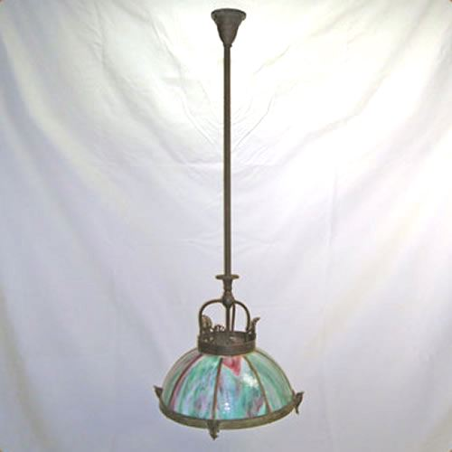 Gas dome chandelier, now electric