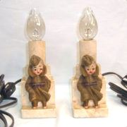 Pair of plaster or chalkware soldier lamps