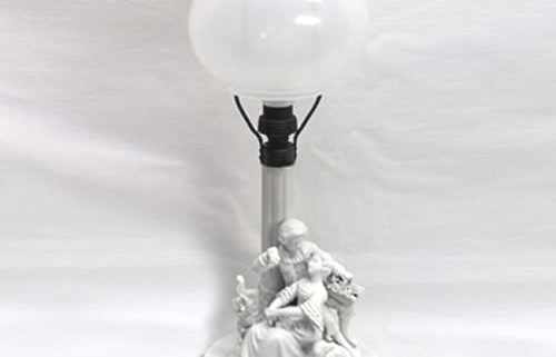Bisque figural table lamp