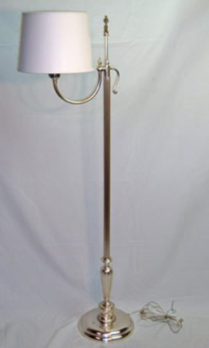 Silver over brass swing arm floor lamp