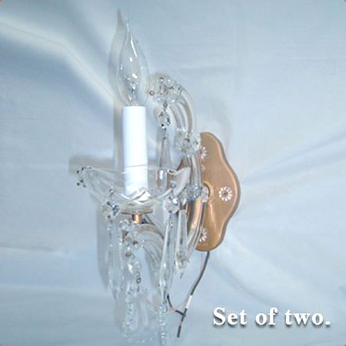 Pair of single-armed crystal wall sconces