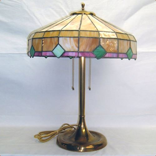 Arts & Crafts brass table lamp