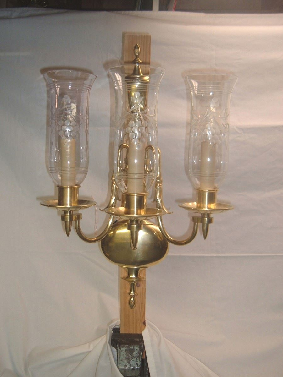 Pair Of Three Armed Wall Sconces Signed Bradley Amp Hubbard