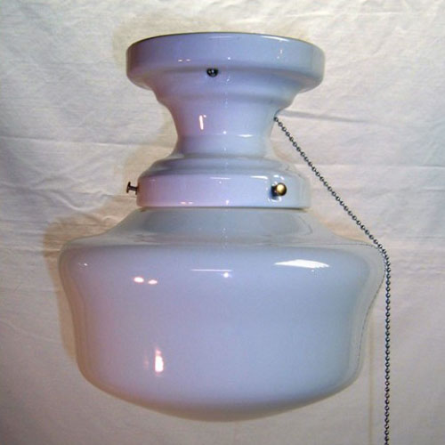 Porcelain school light ceiling fixture