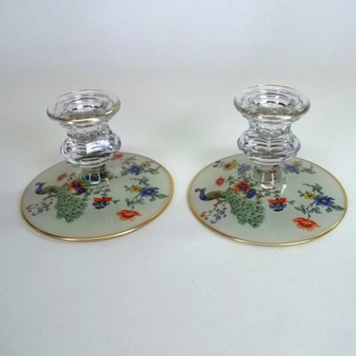 Pair of hand-painted glass candle holders
