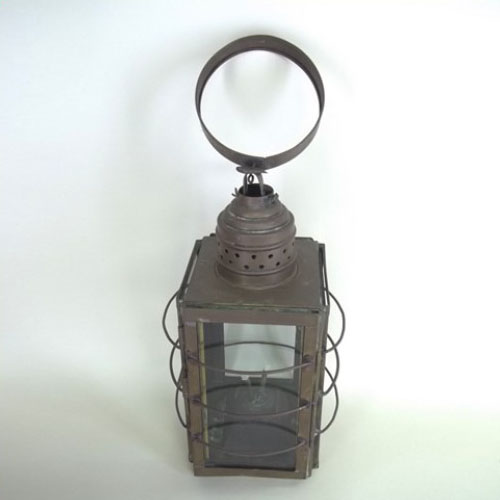 Whale oil lantern with its original double wick