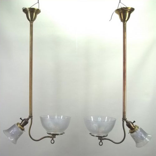 Pair of gas/electric ceiling pendants