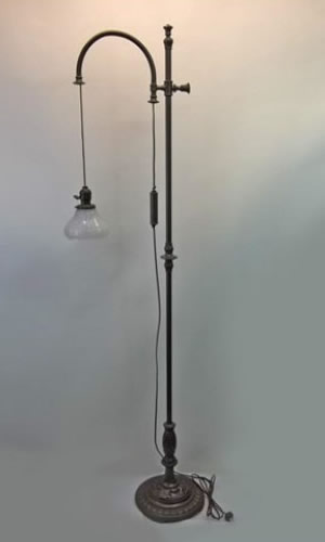 Rare counterbalance bridge arm floor lamp
