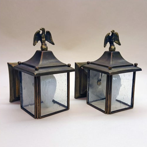 Pair of petite brass wall sconces