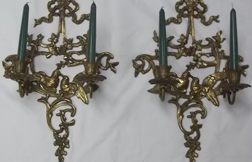 Pair of two-armed candle wall sconces