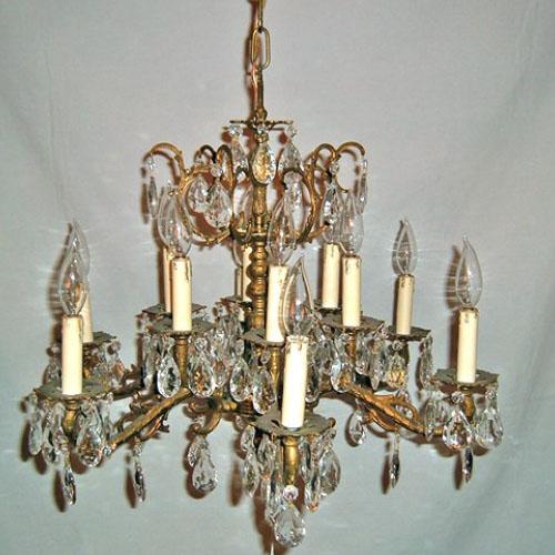 Cast Brass Six Arm Twelve Light Chandelier Old Lamps