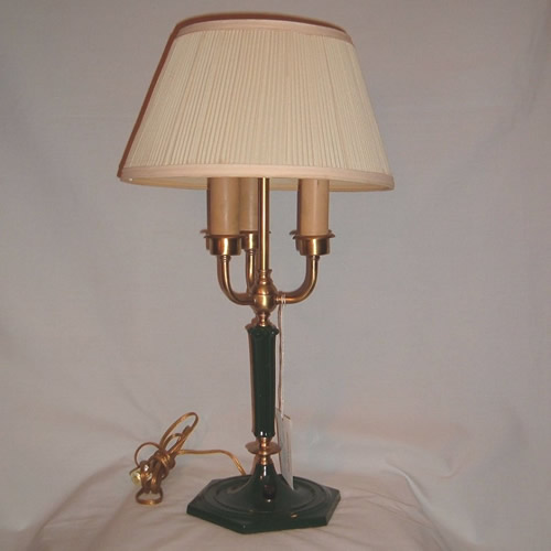 Brass and green table lamp signed MSLC