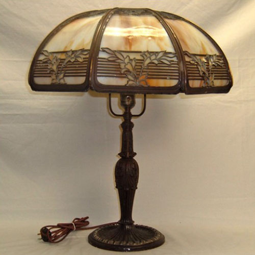 Slag Glass Table Lamp Originally Gas Old Lamps Things Llc