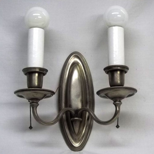 Two-light nickel B&H wall sconce