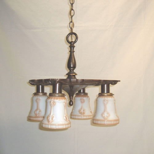 Bradley & Hubbard four-light brass chandelier