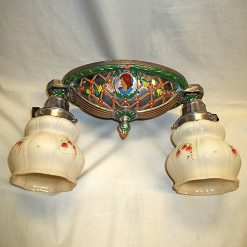 Oval ceiling flush mount, hand-painted on pewter