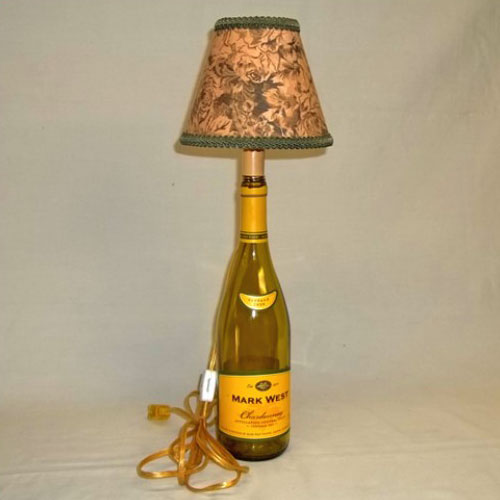 Modern wine bottle converted to a lamp