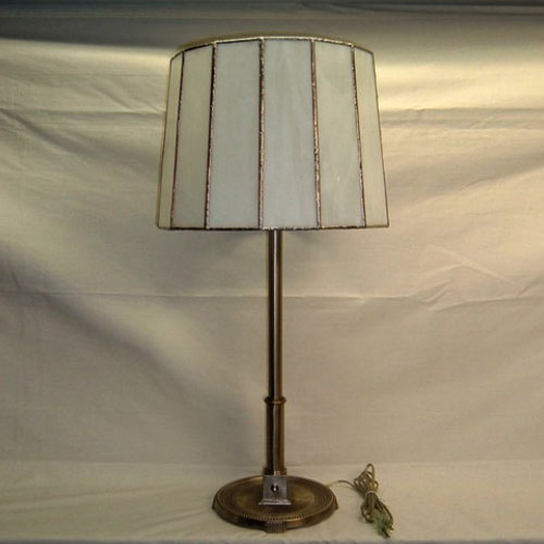 Nickel table lamp signed Miller