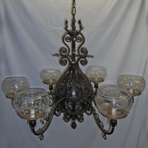 Wrought iron Victorian gas chandelier, originally gas