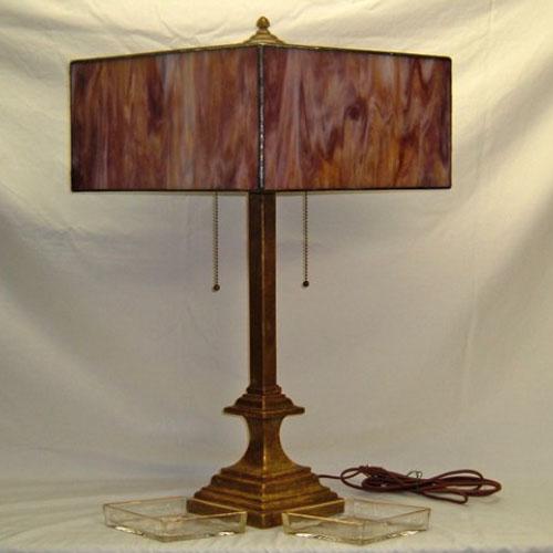 Diamond-shaped Art Deco table lamp