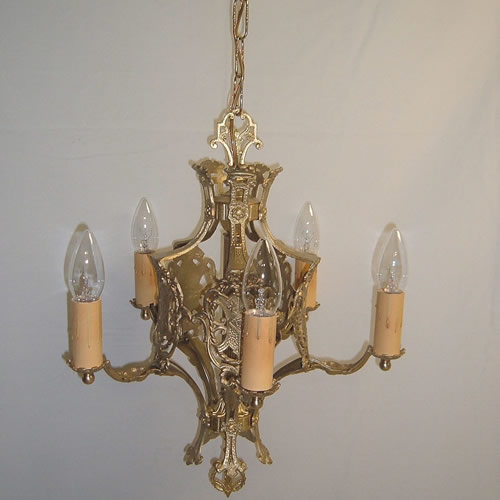 Art Deco cast brass chandelier with five lights