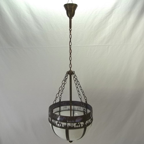 Slag glass inverted bowl ceiling fixture