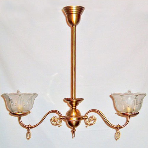 Brass Two Armed Gas Chandelier