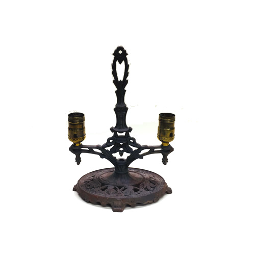Two-light cast iron table lamp base