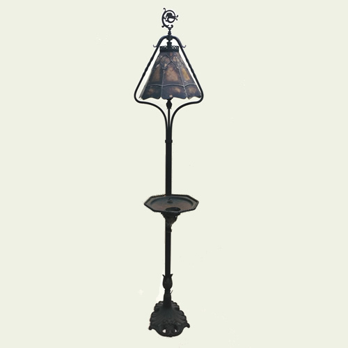 Art Deco cast iron smoke stand floor lamp