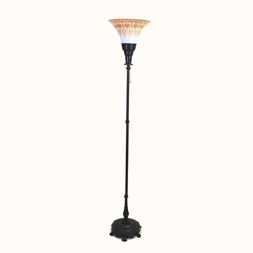 Rembrandt cast iron and brass torchiere floor lamp