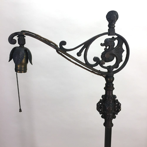 Cast Iron And Bridge Arm Floor Lamp With Dragon Design