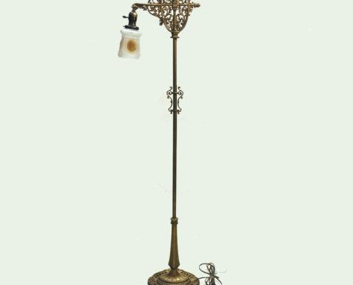 Cast iron bridge arm floor lamp with original gold wash