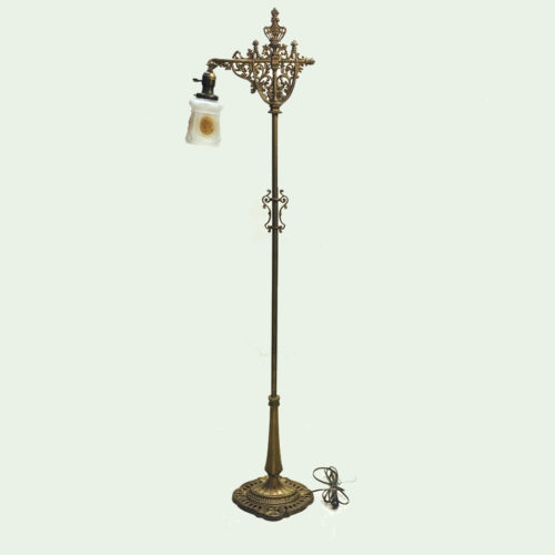 Cast iron bridge arm floor lamp with original gold wash