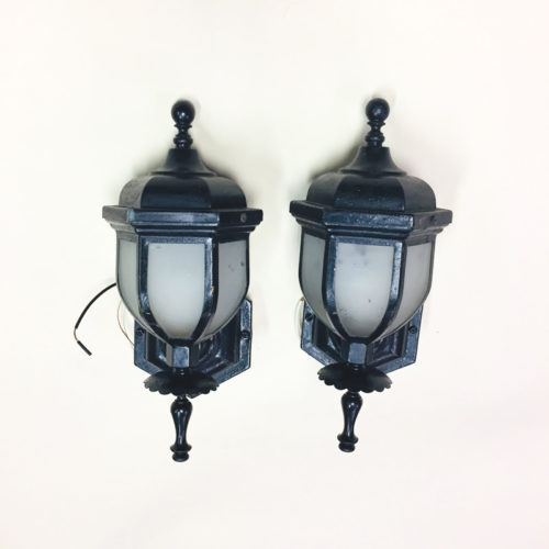 Pair of slag glass outdoor wall sconces
