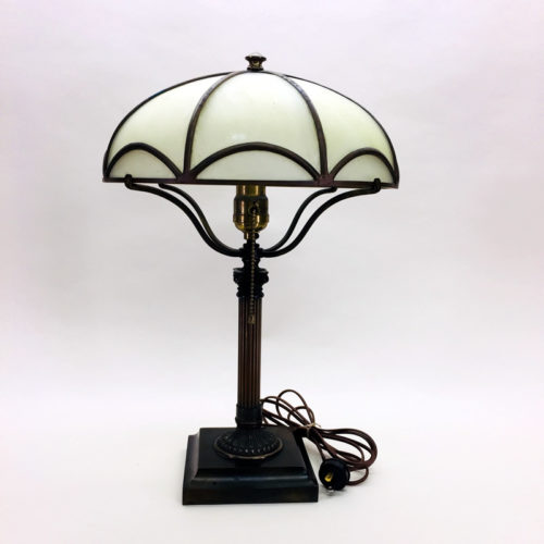 Bradley & Hubbard petite brass and cast iron table lamp