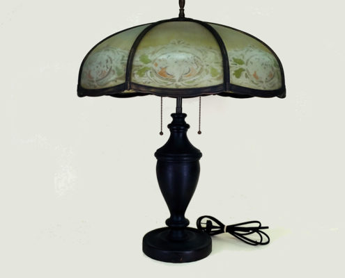 Large slag glass table lamp