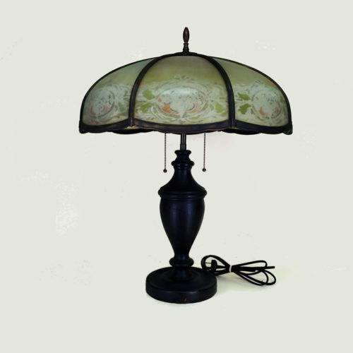 Large slag glass table lamp