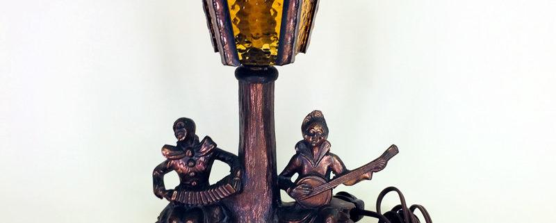 Art Deco musicians table lamp