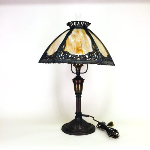 Bradley & Hubbard slag glass table lamp