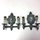 Pair of double-armed hammered nickel wall sconces
