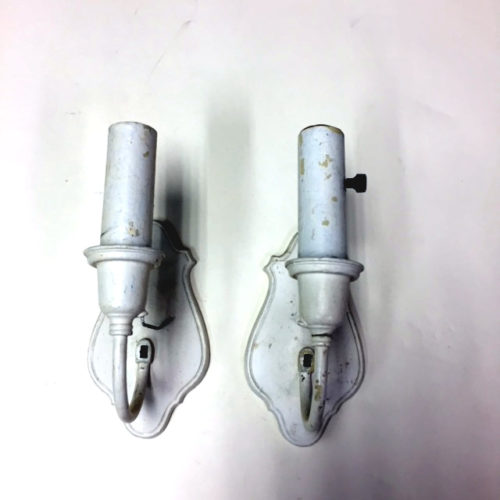 Pair of single-armed wall sconces signed B&H