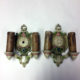 Pair double-armed painted wall sconces signed MLF Inc.