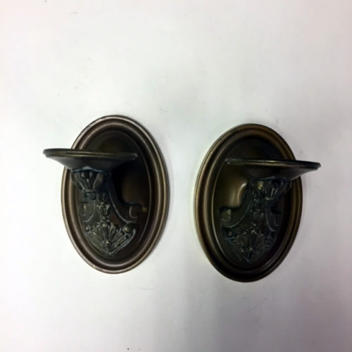 Pair single-armed brass wall sconces