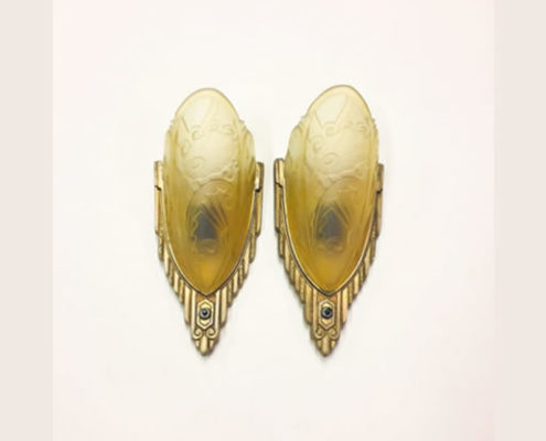 Art Deco slip shade sconces