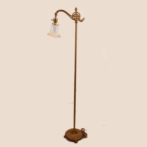 cast iron bridge arm floor lamp with gold wash