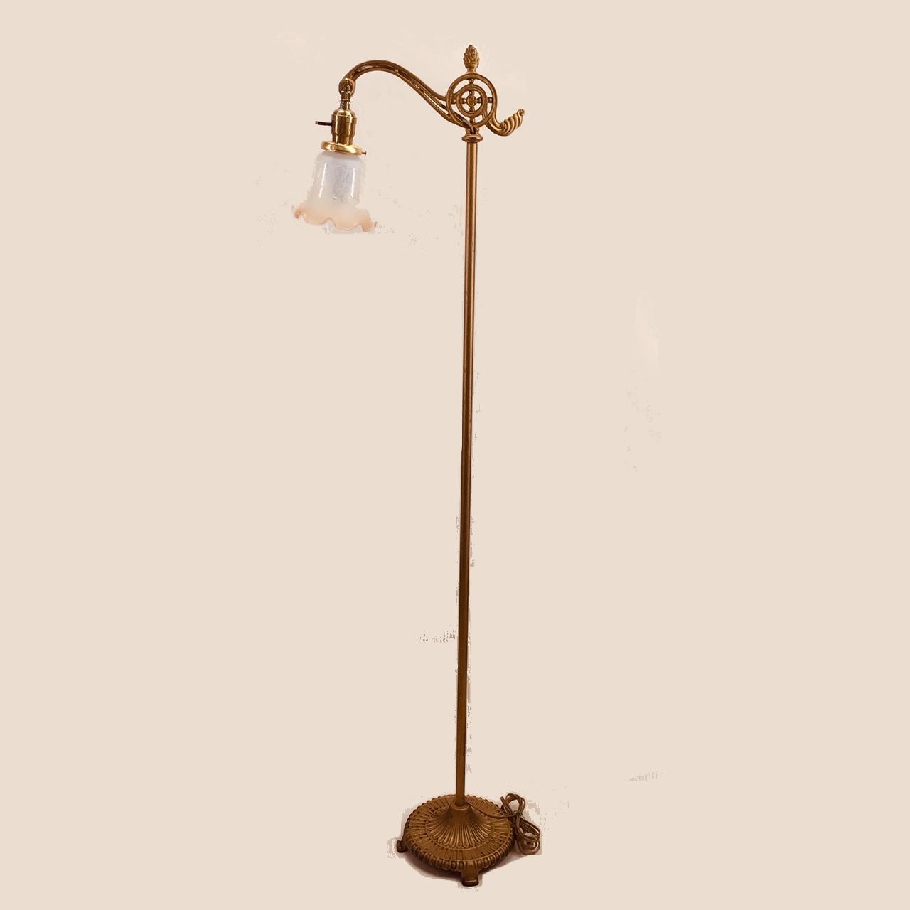 Cast Iron Bridge Arm Floor Lamp With