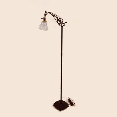Cast iron bridge arm floor lamp with square base