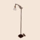 Cast iron bridge arm floor lamp with square base